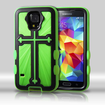 Metallic Cross Hybrid Protector Case for Galaxy S5 - Black/Green