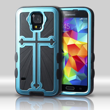 Metallic Cross Hybrid Protector Case for Galaxy S5 - Sky Blue/Black