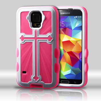 Metallic Cross Hybrid Protector Case for Galaxy S5 - White/Pink