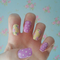 Pretty purple & yellow floral polka dot nail art - false, acrylic, fake, handpainted press on nail set