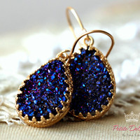 Purple violet drop earrings, Gold  drop Druzy Purple , bridesmaids gift, druzy earrings-14k Gold filled Crown Lace setting gemstone jewelry