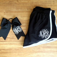 Set of Monogrammed Cheer Shorts with Matching Monogram Cheer Bow, Youth, Girls, Teens, Monogrammed Running Shorts Youth, Womens Sizes
