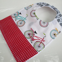 Baby Bib, Bicycle Patchwork, Modern Teething Baby Bib, Bib with Snap