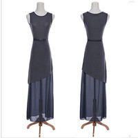 Chic Simple Chiffon Sheer Layering Maxi Jersey Dress Gary