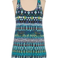 multi color ethnic print racerback tank