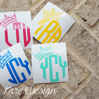 Crown Personalized Monogram Vinyl Decal Sticker - Circle Monogram - DIY - Great for car Window, laptop, cell phone, mason jars, tumblers