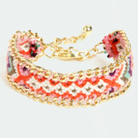 Friends Forever Gold and Pink Woven Friendship Bracelet