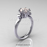 Modern Antique 14K White Gold 1.5 Carat Morganite Solitaire Engagement Ring AR127-14KWGMO