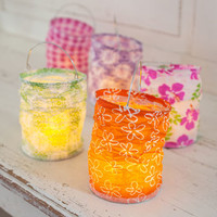 Set Of Five Boho Lanterns With LED Tea Lights