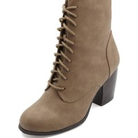CHUNKY-HEELED LACE-UP BOOTIES