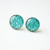 Sea Green Sparkles - Glitter Stud Earrings