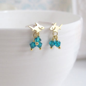 Deep Blue Sea Shark Ear Post. Petite Dainty Shark Earrings. Turquoise Blue Swarovski Crystal Drops. Beach Summer 925Silver Ear Post Jewelry
