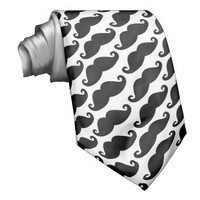 Diagonal Mustache Pattern Black and White