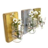 Shabby chic vases sconce mason jar wood vase wall decor cottage decor - set of THREE