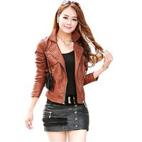ShowBox Women's Black Brown Vintage Leather Motorcycle Jacket Showomen-041