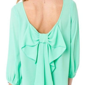 Mint Parisian Bow Blouse