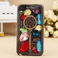iPhone 4S 4G 3GS iPod Touch Vintage Artificial Swarovski Crystal Key Hard Protective Cover