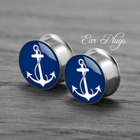 Anchor    Silver steel stain ear gauge,  tunnel  plugs,Stainless Steel Screw Ear Gauges, 2g, 0g, 00g,/16,1/2, 5/8,3/4