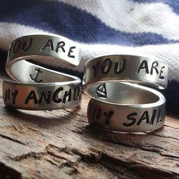 you are my anchor, you are my sail   two engagement aluminum rings 1/4 inch wide