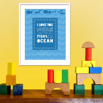 Inspirational Art Print with Quote, Baby Wall Art, Baby Gift, Kids Decor, I Love More Than There are Fish Illustration, Nursery Typography