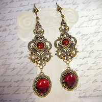 Red Ruby Renaissance Earrings, Medieval Earrings, Borgias, Medieval Jewelry, Tudor Earrings, Bridesmaid Earrings, SCA, Ready to Ship