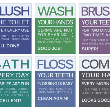 "Bathroom Quote Prints, Bathroom Rules Typography Wall Art Set of 6 5""x7"", Wash Brush Floss Bath Comb Flush Decor, Modern Typography for kids"