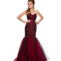 Black & Red Knoxville Mermaid Gown Prom 2015