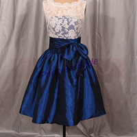 2014 short ivory lace and navy blue taffeta bridesmaid dresses,cheap cute maid of honor gowns with bow,chic dress for wedding party hot.