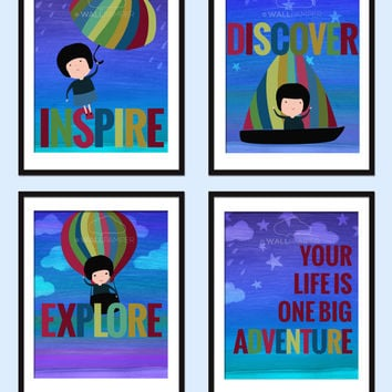 Set of 4 Nursery Art Print Inspirational Quote Baby Wall Art Customized Child's Name Your Life Is One Big Adventure Baby Boy Gift Kids Decor