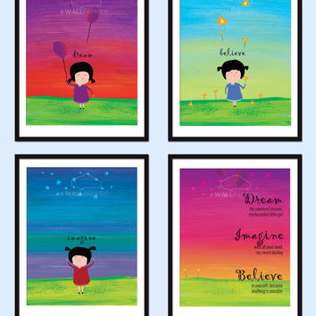 Set of 4 Nursery Art Print Inspirational Quote IMAGINE BELIEVE DREAM Typography Baby Wall Art Baby Girl Gift Kids Decor Cute Illustration