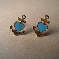 Nautical Earrings Anchor Earrings by Bitsofbling on Etsy