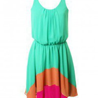 LOVE Jade Chiffon Rainbow Hem Dress - Love