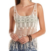 Crochet Swing Fringe Crop Top by Charlotte Russe - Ivory