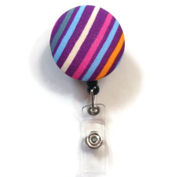 Fabric Covered Retractable Badge Reel Diagonal Stripes Keychain Lanyard