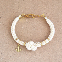 Knit bracelet with anchor charm and knot, anchor bracelet, knot bracelet in cream