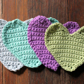 Heart Coasters, Crochet Coasters, Set of 4, Coaster Set, Colorful Hearts, Pastel Coasters