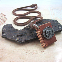 PUNK Brown leather Book Pendant Adiustable by sevenvsxiao