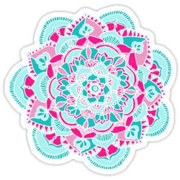 Hot Pink & Teal Mandala Flower
