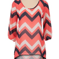 dubarry High-low chevron print chiffon tunic