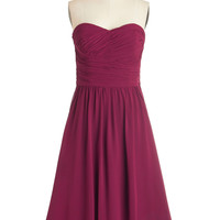 ModCloth Mid-length Sleeveless Fit & Flare Luminous and Lovely Dress in Raspberry