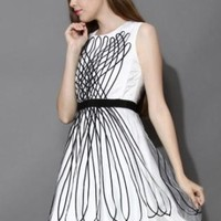 White mesh dress with black tulle