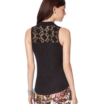 Sleeveless Lace Tie-Front Top