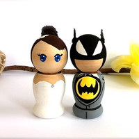 Batman Wedding Cake Topper Custom by CreativeButterflyXOX on Etsy