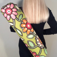 Handmade Yoga Bag, Yoga Mat Bag, Yoga Tote, Yoga Carrier, Mat Bag - Big Flower Print with Shoulder Strap and Drawstring