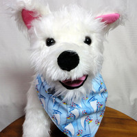 Dog Bandana Nautical Theme Over the Collar Double Layer Handmade Sailboats Cotton Small Medium