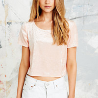 Urban Renewal Vintage Remnants Velvet Crop Top in Nude - Urban Outfitters