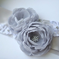 Gray Bridal Sash, Flower Sash, Wedding Dress Belt, Bridal Belt , Gray Chiffon Flowers on Silver Ribbon, Wedding Dress Belt, Bridal Accessory