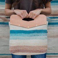 Textile tote - wool, woven bag with top leather handle