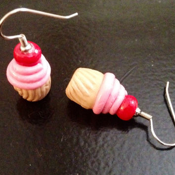Strawberry Cupcake Earrings made with Sculpey clay