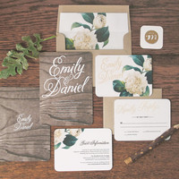Woodland Floral Wedding Invitation & Correspondence Set / Rustic Wood with Romantic Accents / Sample Set
